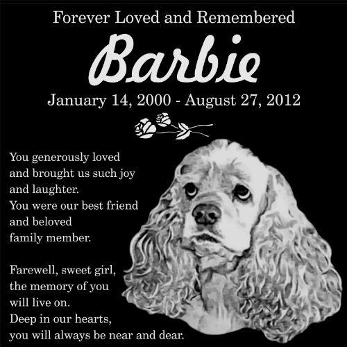 """Personalized American Cocker Spaniel Dog Pet Memorial 12""""x12"""" Engraved Black Granite Grave Marker Head Stone Plaque BAR2 -- Read more reviews of the product by visiting the link on the image."""