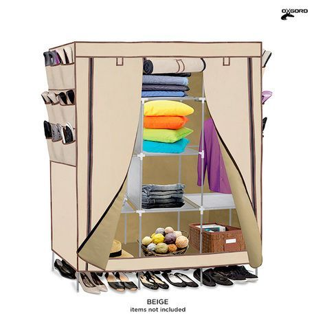 OxGord Portable Wardrobe Closet Organizer with Shoe Pockets - Assorted Colors at 78% Savings off Retail!