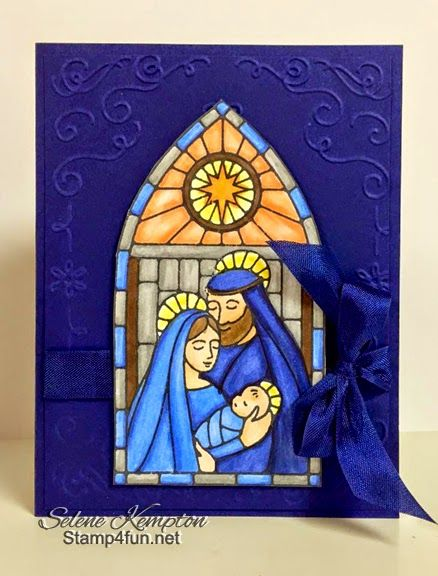 Gentle Peace Christmas Card by Stampin' Up! The reason for the season. Stained Glass, Blendabilities, Seam Binding.