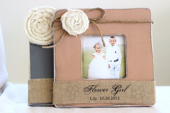 $52 Thank You Gift for Flower Girl and Ring Bearer (set of 2) Custom Personalized Picture Frame Rustic Burlap Wedding Gift