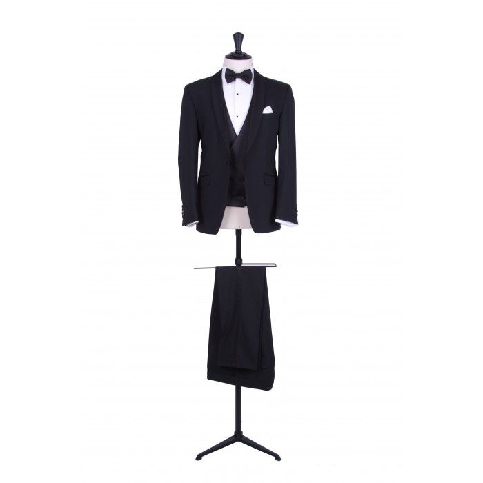 Grooms black slim fit shawl collar dinner suit / tuxedo with matching double breasted waistcoat