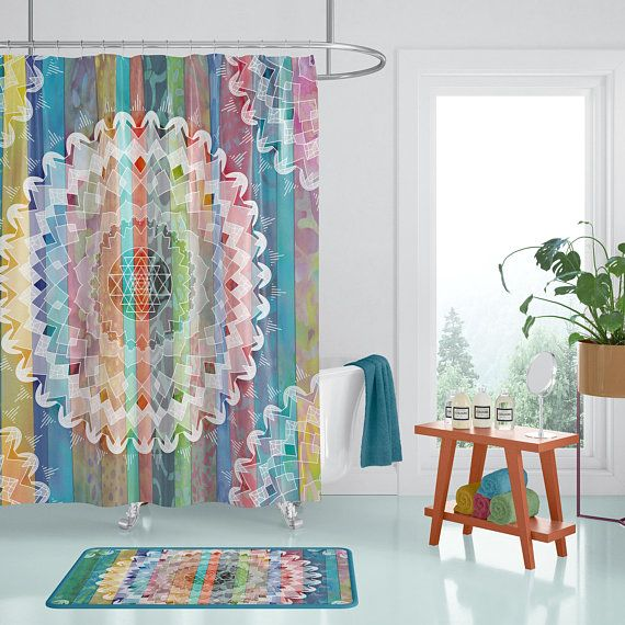 Boho Chic Mandala Shower Curtain Jewel Tone Batik Stripe With