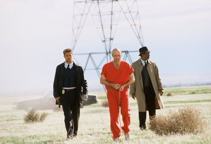 Brad Pitt, Kevin Spacey and Morgan Freeman in Seven, 1995.