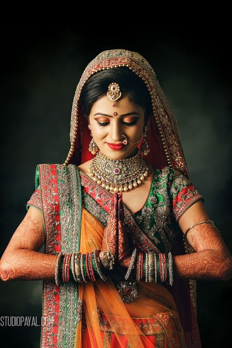 Traditional bride - beautiful! Photo by Studio Payal, Patan #weddingnet #wedding #india #indian #indianwedding #ceremony #indianweddingoutfits #outfits #backdrops #prewedding #photographer #photography #inspiration #gorgeous #fabulous #beautiful #jewellery #jewels #details #traditions #accessories #lehenga #lehengacholi #choli #lehengawedding #lehengasaree #saree #bridalsaree #weddingsaree #tikka #earrings