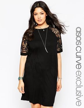 ASOS CURVE Shift Dress with Geo Mesh