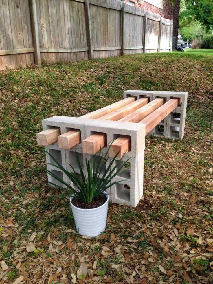 sitzbank aus betonziegel und holzlatten die sich einfach auseinanderbauen l sst garten. Black Bedroom Furniture Sets. Home Design Ideas