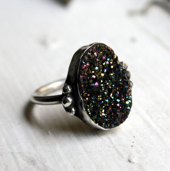 One of a Kind- Midnight Drusy Sparkling Sterling Silver Ring by luckyduct