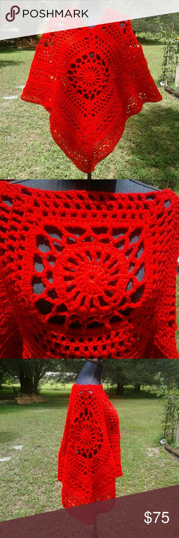"Hand Crochet Vibrant Red Poncho Boho Festival Wow! This Poncho will surely catch your eye! Bright red hand crochet Poncho with acrylic yarn. Machine washable. Nice and stretchy. Fit small medium and large. Nice Lacy design so it's not super heavy. Neck Opening 12"", meadures 26"" from v neck to bottom point, 36"" across point to point. Wear two ways, triangle or short square with long sides. Price firm unless bundled. Optional  fringe can be added upon request  (additional charge). Lobax…"