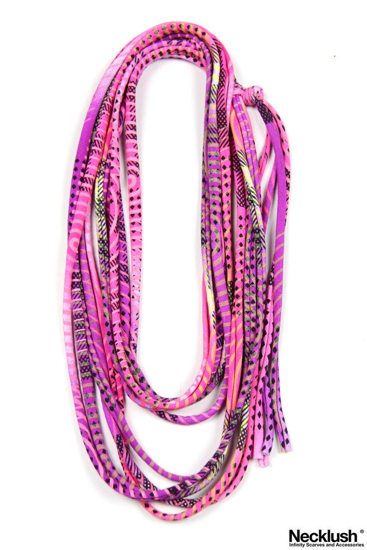 Neon Purple - Skinny Scarf Necklace