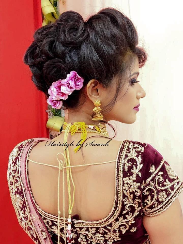 Bridal Twirls Pretty Bridal Hairstyle By Swank For Reception Bridal Hairstyle With Roses Reception Look Indian Bridal Hairstyles Bridal Hair Indian Bridal