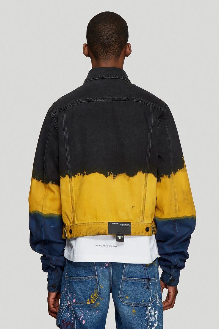 Off-White™ Tie-Dye Denim Jacket in Yellow Release Tie Dye Fashion, Denim Fashion, Look Fashion, Denim Jacket Men, Denim Shirt, Denim For Men, Denim Jacket With Patches, Denim Man, Man Jacket