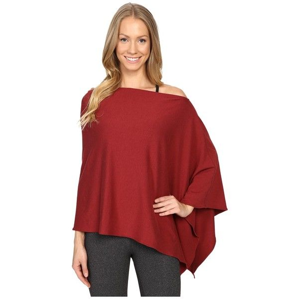 FIG Clothing Poptun Poncho (Auburn) Women's Coat ($50) ❤ liked on Polyvore featuring outerwear, travel poncho, lightweight poncho, long sleeve poncho and red poncho