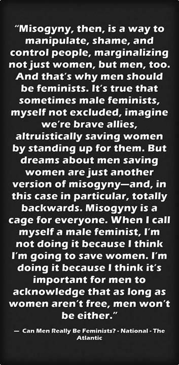 Male feminists are not saviors of women.
