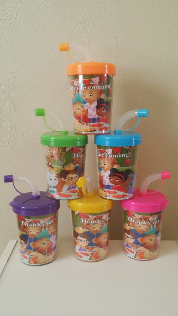 Daniel Tiger Neighborhoods Personalized Party Favor Cups, DIY Daniel Tiger Party Favors Birthday Treat Cups Set of 6 BPA Free Do It Yourself