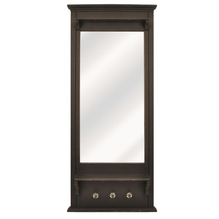 White framed mirror with shelf