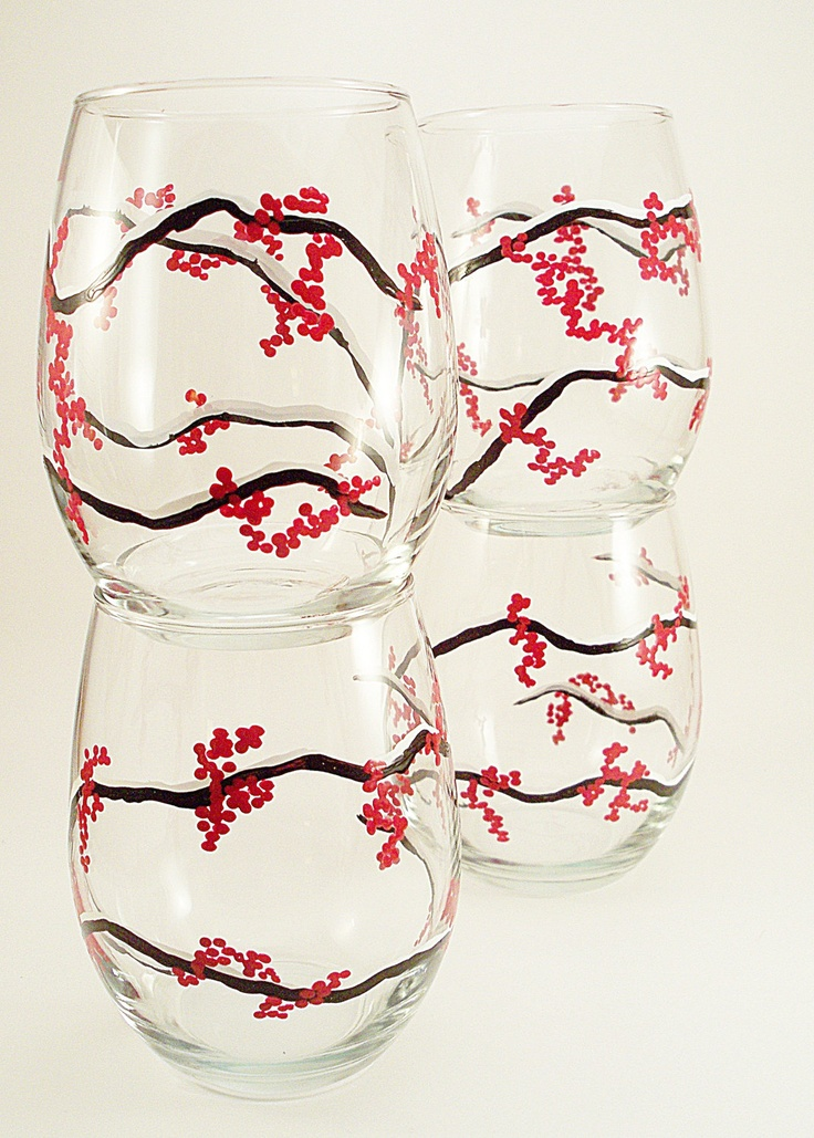 131 best images about painted glasses on pinterest for Painted stemless wine glasses