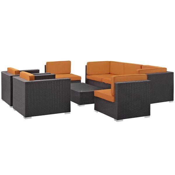 Gather Espresso Orange Fabric PE Rattan Glass 8pc Outdoor Sofa Set