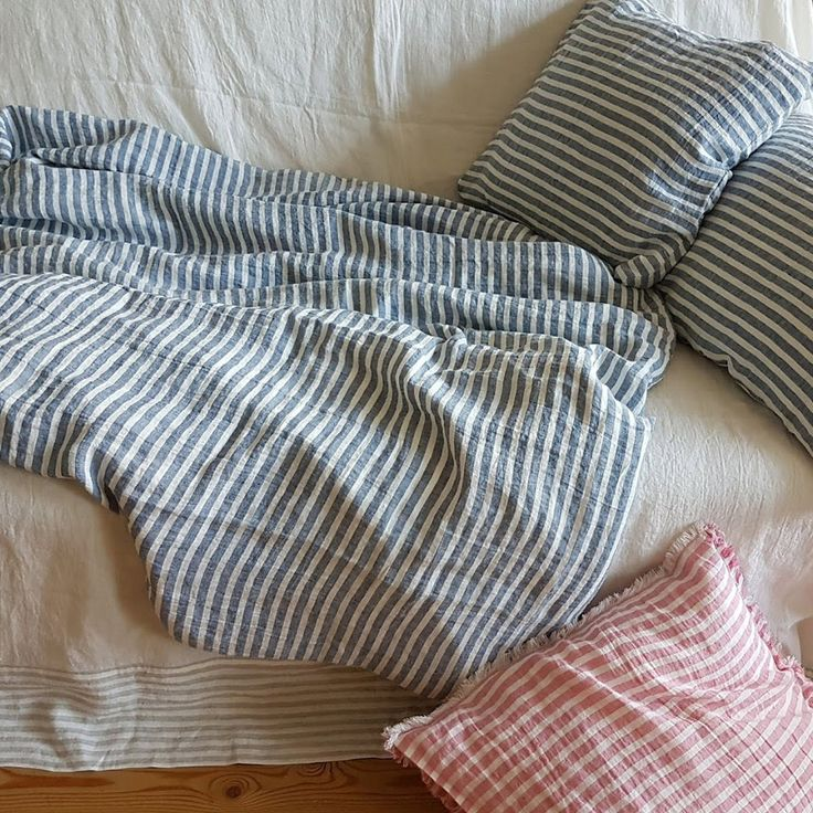 Stonewashed linen bedding set blue-white striped, duvet cover and 2 pillowcases by DejavuLinen on Etsy