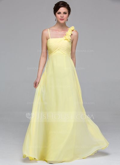 Empire Floor-Length Chiffon Bridesmaid Dress With Ruffle Flower(s) (007037247)
