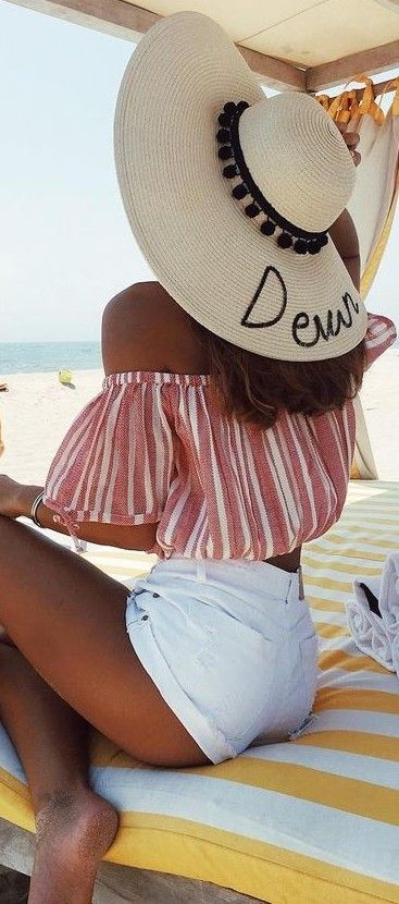 perfect bsummer beach outfit, love the bardor striped top and the slogan hat