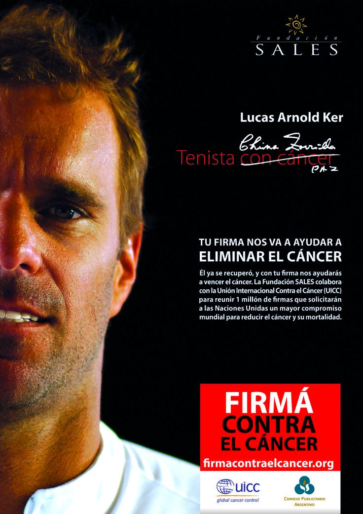 """Firmá contra el cáncer """"Tenis"""" El objetivo es reunir 1 millón de firmas para solicitar un mayor compromiso mundial para reducir el cáncer. Gran campaña de concientización que lleva a la acción!"""
