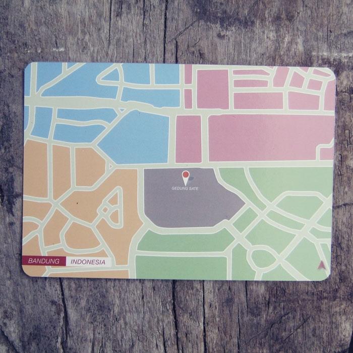 Postcard | Indonesian City Map Postcard Series | Bandung - Indonesia