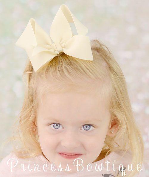 Ivory Cream Hair Bow - Cream Toddler Bow - Cream Boutique Hair Bow