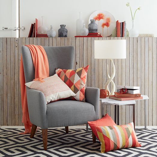 Embroidered starburst pillow cover bergamot west elm for Coral living room ideas