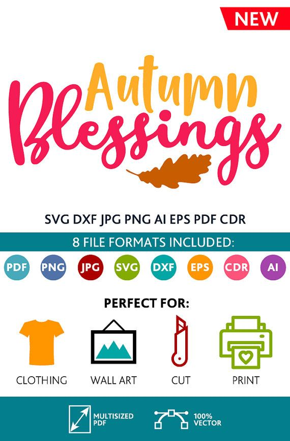 Autumn Blessings SVG Cut Files Wall Art Quote Printable Art Decor room Art Printable Poster digital (Svg Dxf Cdr Eps Ai Jpg Pdf Png)