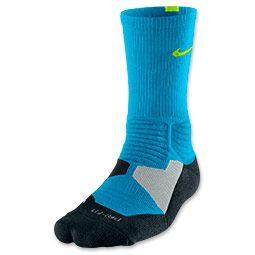 Men's Nike Hyper Elite Basketball Socks | FinishLine.com | Vivid Blue/Black/Volt