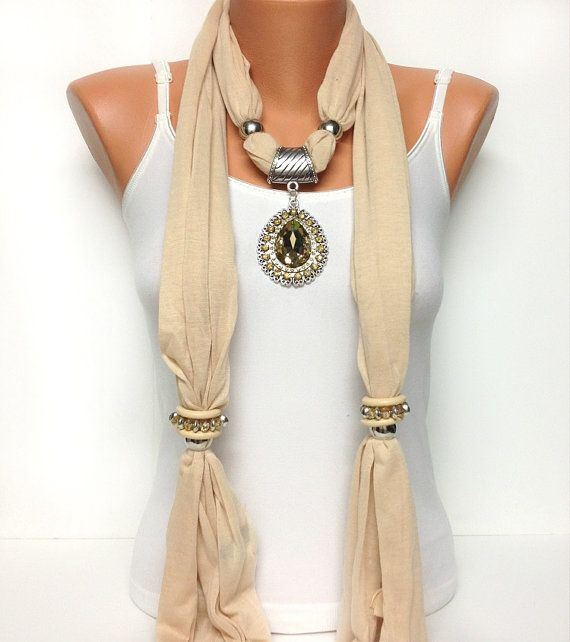 ivory color jewelry scarf - great use of slide pendent and rings... get creative