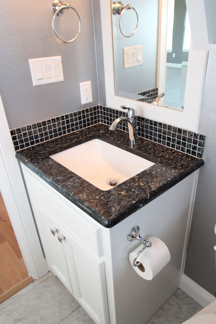 Pure white cabinets blue pearl granite bathroom remodel for White kitchen cabinets with blue pearl granite