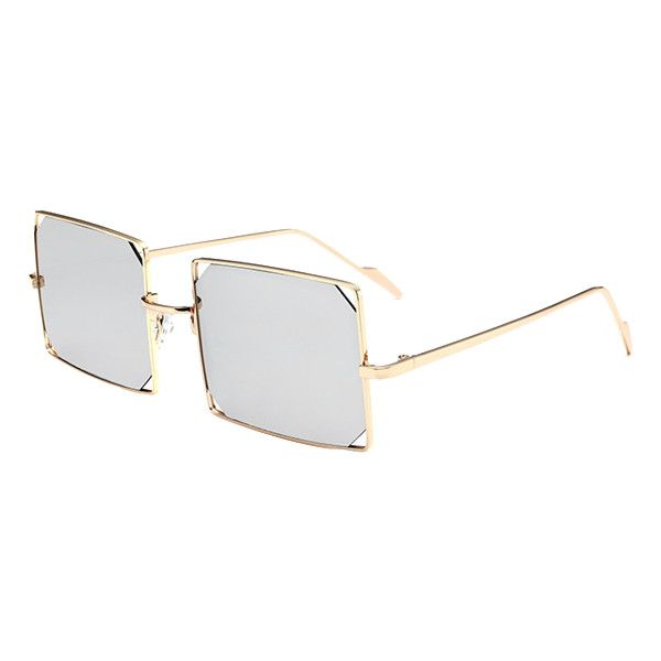 Hollow Out Mirrored Lens Metal Rectangle Sunglasses ($6.07) ❤ liked on Polyvore featuring accessories, eyewear, sunglasses, rosegal, rectangle glasses, rectangle sunglasses, metal sunglasses, rectangular sunglasses and mirror lens sunglasses
