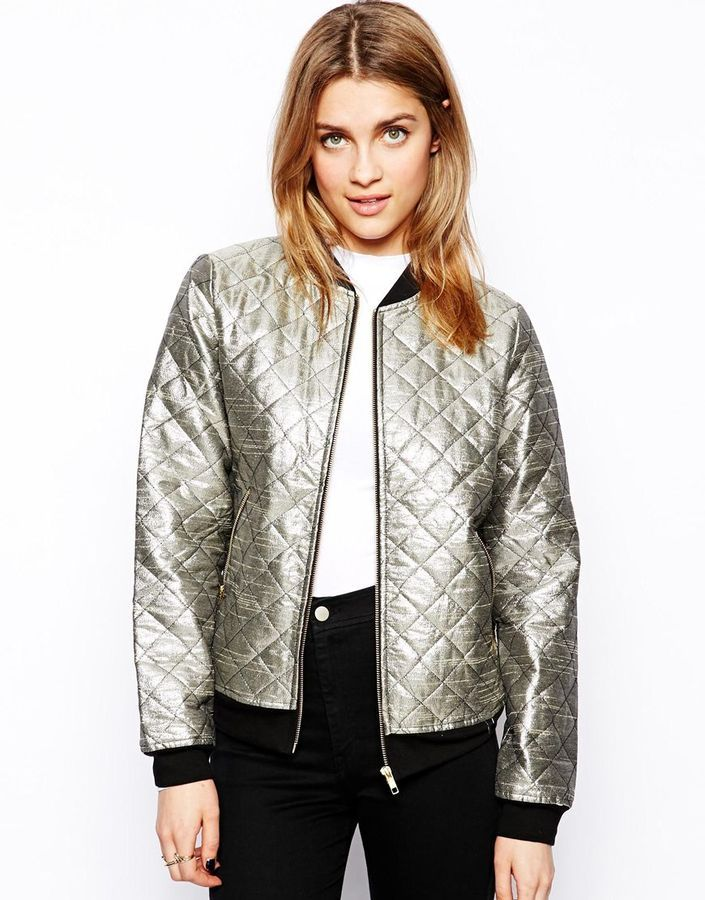 Buy ONLY Gold Metallic Quilted Bomber Jacket from Asos for $49: http:// - 138 Best Bomber Jackets Images On Pinterest Bombers, Bomber