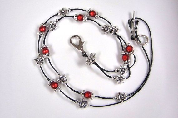 Lanyard with ID Holder has Red Miracle and Antique by PPBejewelled  Christine