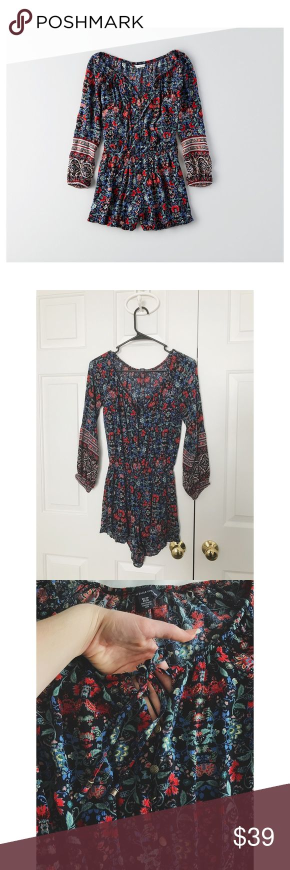 American Eagle Romper worn once, in excellent condition. could also fit a size s. has a tie in the front & small buttons running down the front. no longer sold online or in stores!  🚫NO TRADES / HOLDS 🚫NO MODELING 🚫NO PP / MERC / OTHER PAYMENT OPTIONS ✅Questions welcomed (other than those listed above) ✅1-2 business day(s) shipping ✅offers welcome / price negotiable ✅3 items or more - 15% off American Eagle Outfitters Dresses Long Sleeve