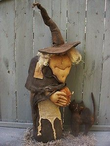black primitive dolls | Primitive-OLD-CRONE-WITCH-and-BLACK-CAT-NEW-2013-Halloween-Doll ...
