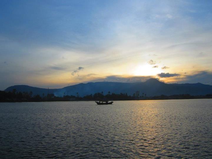 Kampot - Cambodia....sunsets behing Bokor mountain over the Mekong fishing boat cruising along smiling Khmer peeps everywhere...had to pinch myself...magic