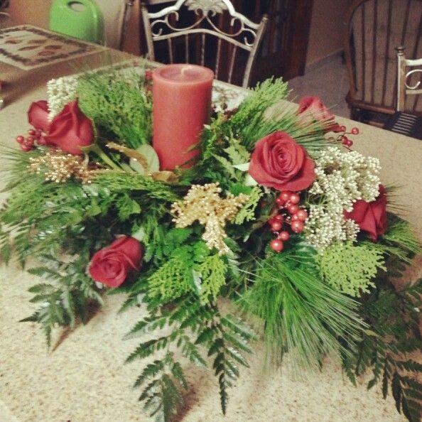 Christmas centerpiece queens bouquet florals pinterest