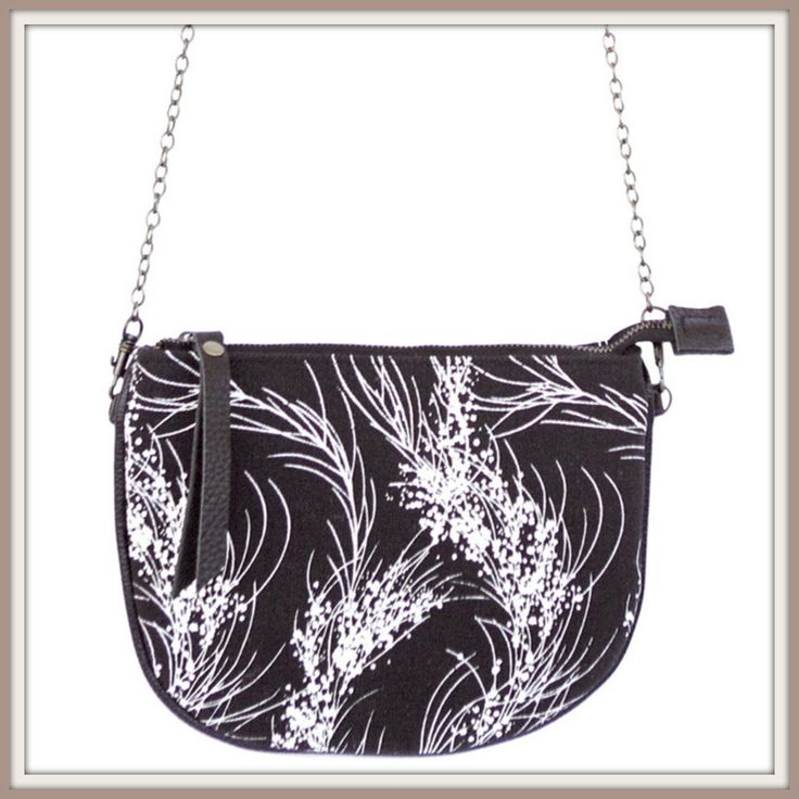 $49.00 Purse with Chain, Half Moon, 6 Australian Designs hand screen printed on cotton.  This Design is Black and White Wattle, there is Also Black Cockatoo; Red Wren; Blue Wren in Winter; Gold Leaf; Geometric - Designer Bags at amazing prices - mamaterial