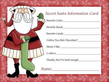 secret santa information sheet firstgradefaculty com pinterest