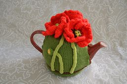 Striking Poppy Tea Cosy pattern to make - get at https://www.etsy.com/listing/243671813/red-poppy-meadow-mouse-tea-cosy?ref=shop_home_active_15