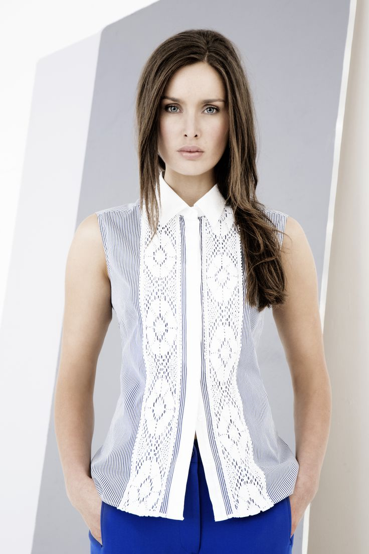 Sleeveless blouse with lace insert designed by Carolyn Donnelly The Edit