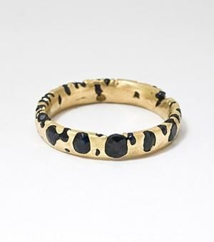 black sapphires, yellow gold
