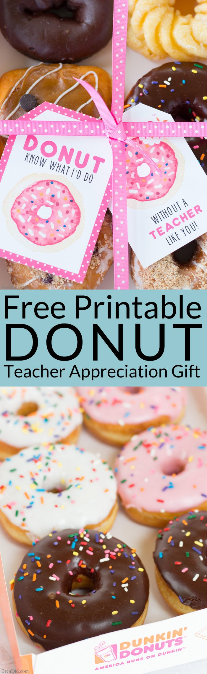The end of school year is approaching! Tell your teacher thank you with this easy teacher appreciation gift and free printable gift tag featuring fun donut sayings. Great idea for teacher appreciation week or end of year teacher gifts. DIY Teacher Gifts, Simple Teacher Appreciation Gift, Teacher Appreciation Gift Ideas. Sponsored.