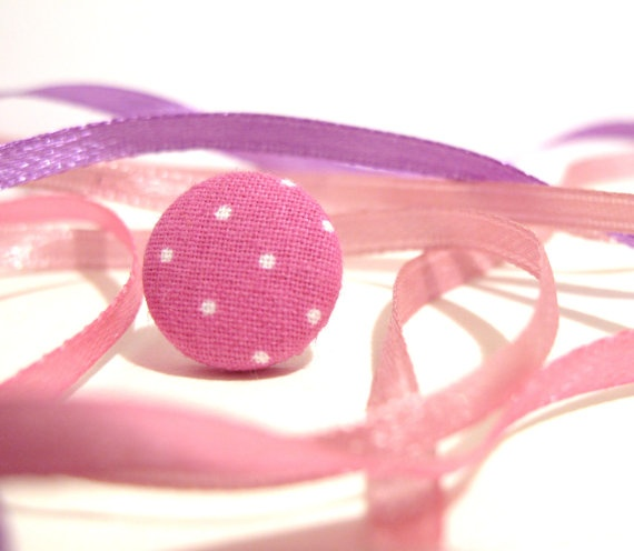 Pink dots fabric covered button earrings