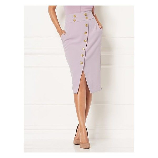Eva Mendes Collection Layla Skirt Petite ($18) ❤ liked on Polyvore featuring skirts, purple, white knee length pencil skirt, purple pencil skirt, knee length pencil skirt, petite white skirt and white slip skirt