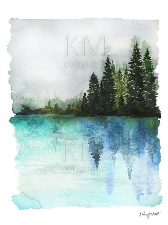 Misty Waters Blue Watercolor Painting Forest Print Nature