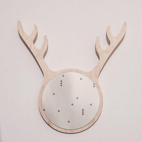 DEER FRIEND MIRROR and hanger nordic design roe-deer interior accessory by KATLA