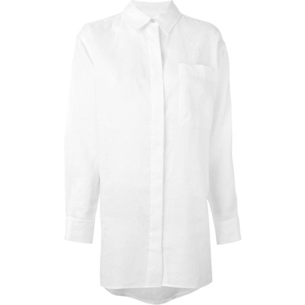 DKNY Oversized Shirt (215 CAD) ❤ liked on Polyvore featuring tops, white, oversized collar shirt, long-sleeve shirt, oversized white shirt, white long sleeve top and long sleeve shirts